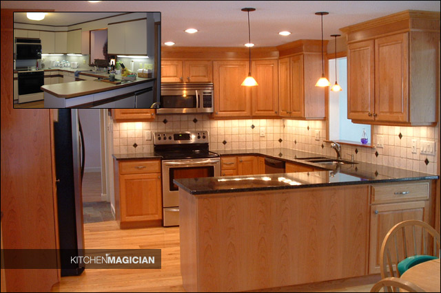 Don 39 t replace reface cabinets affordable granite for Kitchen cabinets before and after
